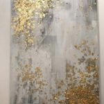 gold leaf abstract art light grey and gold leaf abstract painting by gold leaf a...