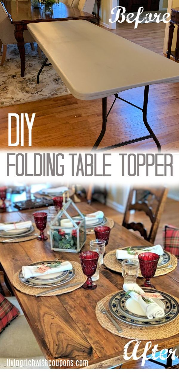 Transform your ordinary folding table into a table with farmhouse charm with my ...