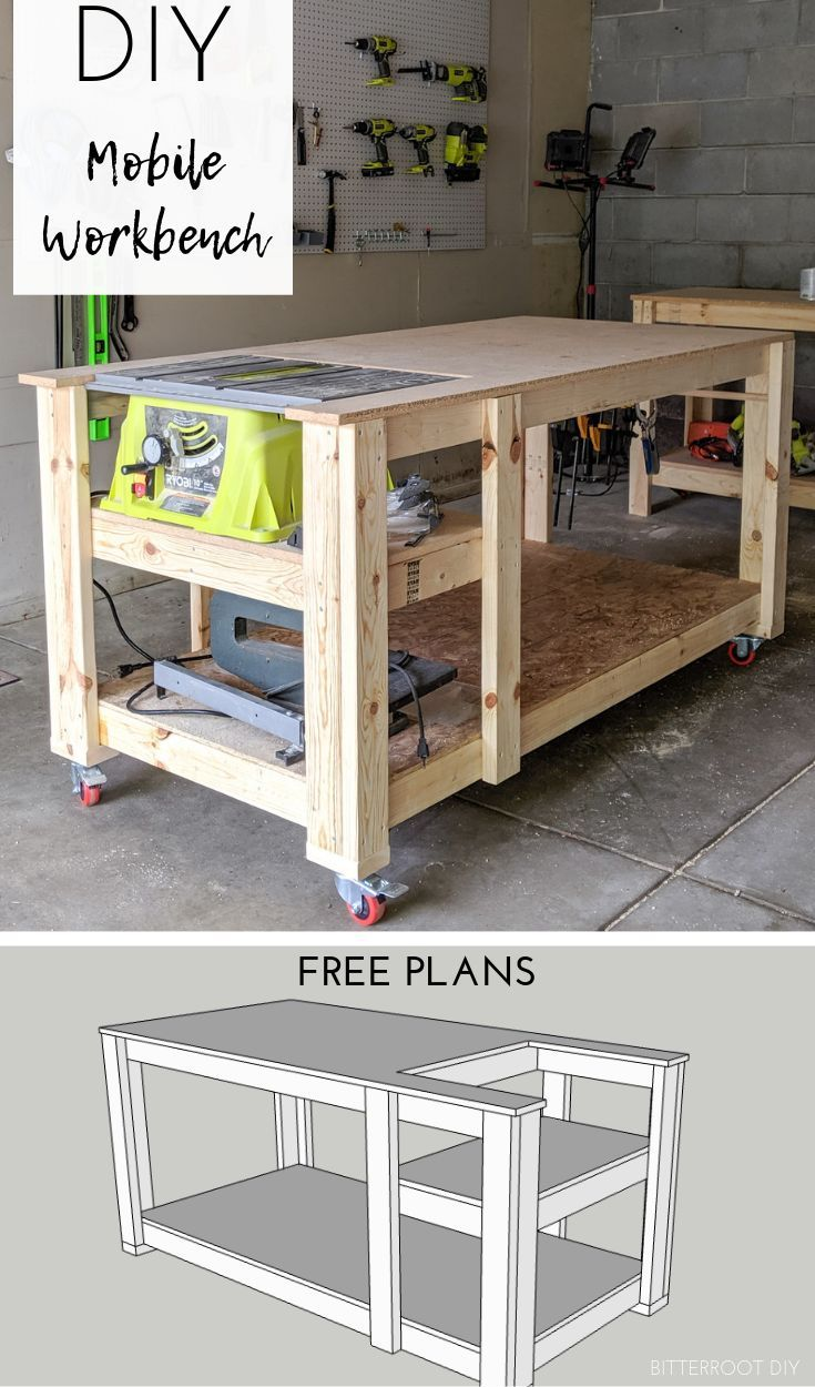 Mobile Workbench with Table Saw | Bitterroot DIY