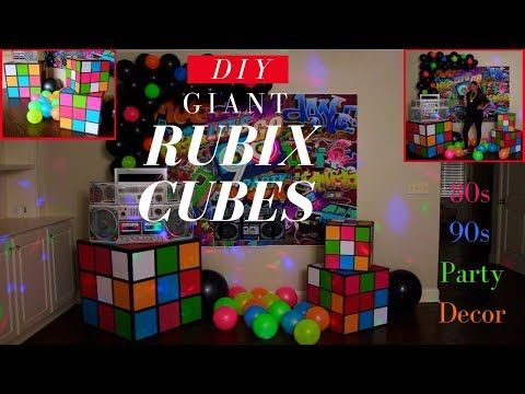 Giant Rubix Cubes DIY | 80s 90s Party Decoration Ideas | Dollar Tree DIY - YouTu...