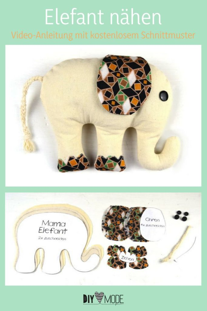 Elephant cuddly toy for kids with free sewing pattern freebie free ...