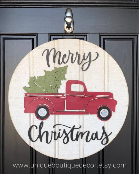 Merry Christmas Door Hanger Red Truck Christmas Tree sign | Etsy