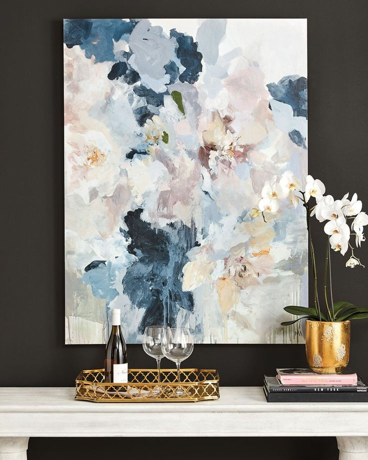 Gardens Gate abstract art with navy and blush color palette