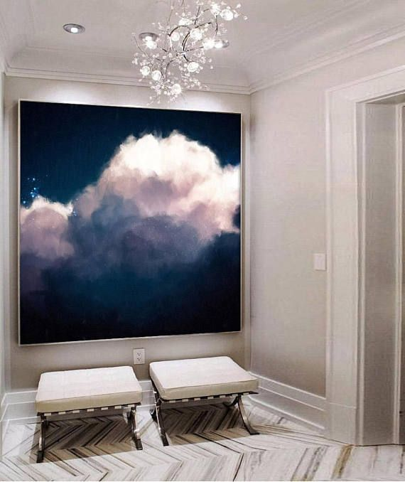 Extra Large Wall Art, Cloud Painting, Abstract Art, Large Abstract Painting, Nav...