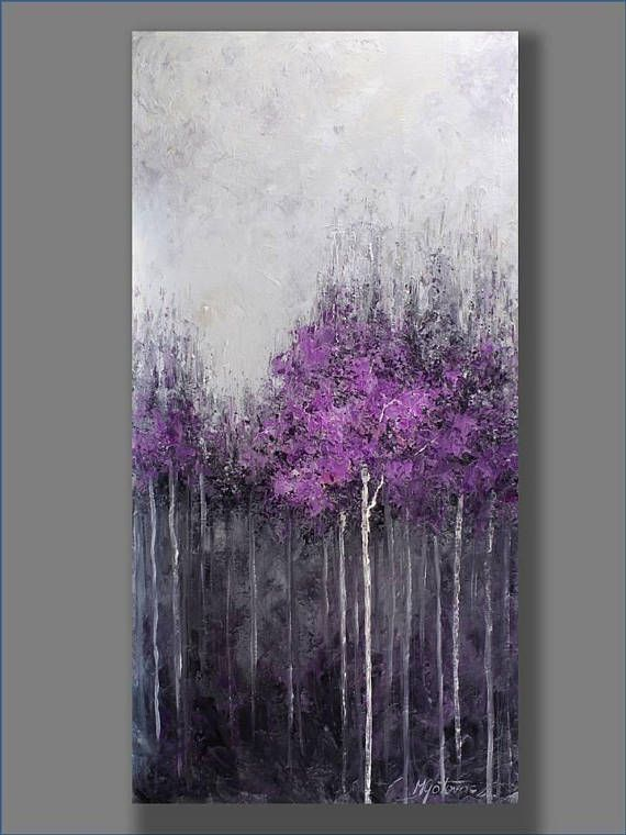 FREE SHIPPING Acrylic Painting Purple Abstract Painting #abstractart #Landsca ...