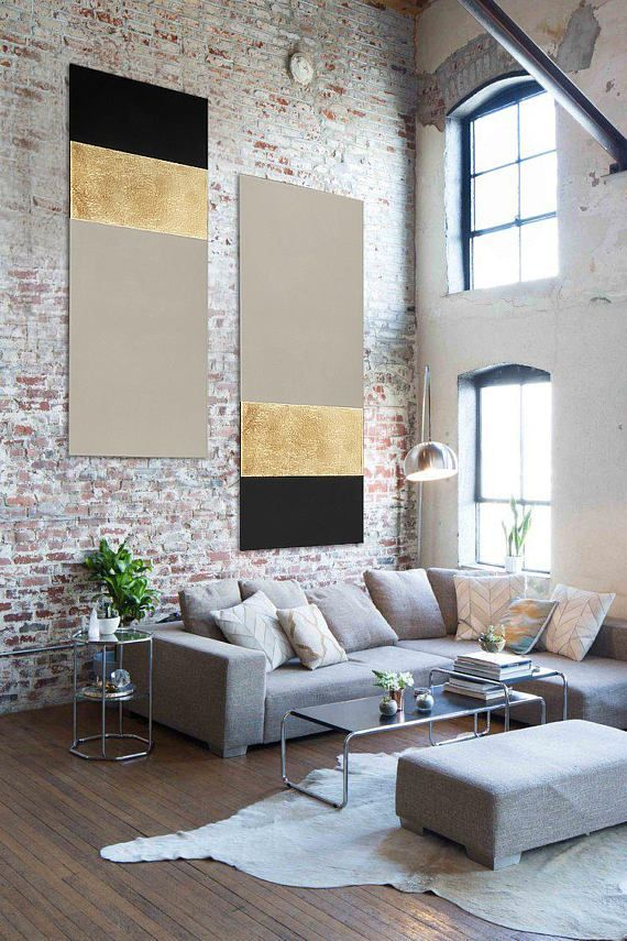 Large Abstract Painting Original Gold or Silver Leaf Cream Black Huge Acrylic Pa...