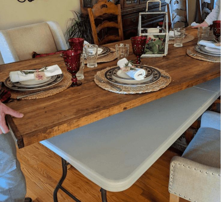 DIY Wood Folding Table Topper - From Plastic Folding Table to Beautiful Wood Tab...