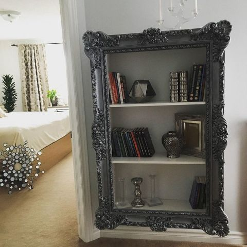 diy project upcycle your old frame into trendy bookshelf