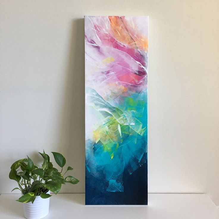 Acrylic abstract painting on canvas, using Golden Fluid Acrylics and Catalyst si...