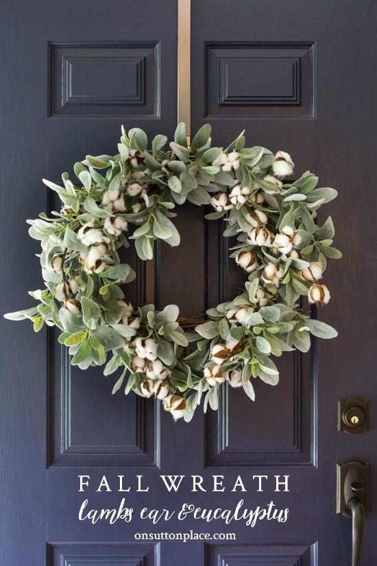 DIY Fall Wreath Idea with lamb's ear and cotton bolls. Add a custom touch of...