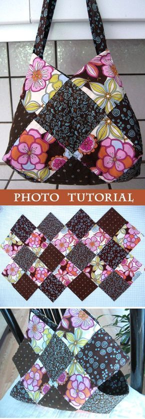 This patchwork bag is made using charm squares and has a great shape due to the ...