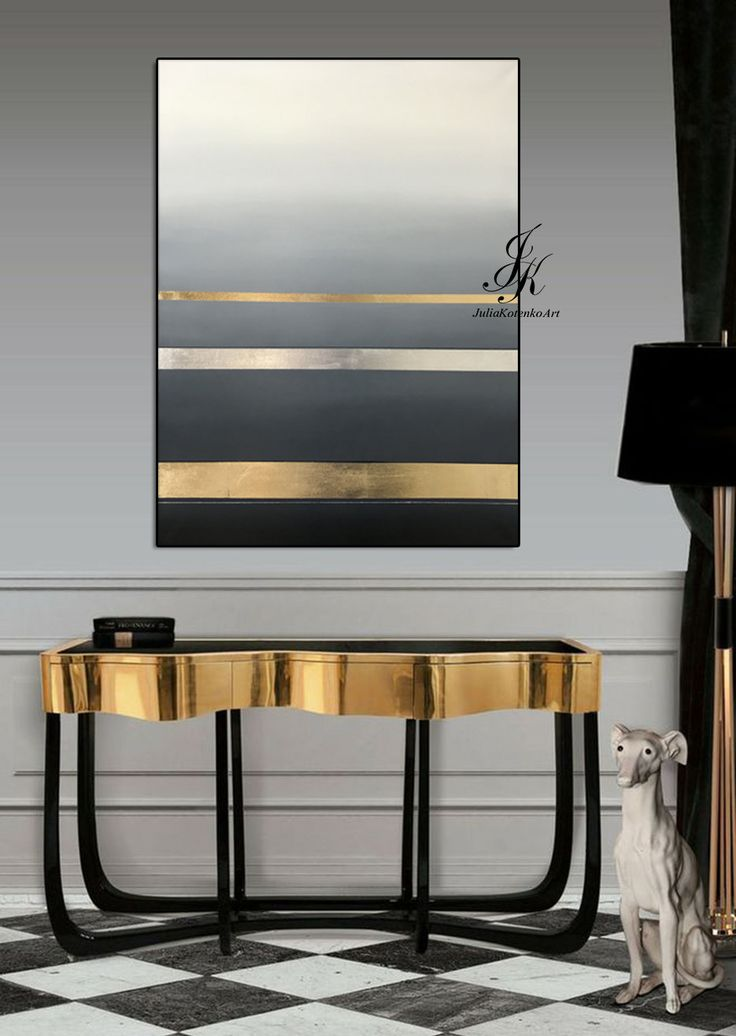Large Oil Painting Minimalism Art Abstract Painting Gold Leaf Silver Leaf Painti...