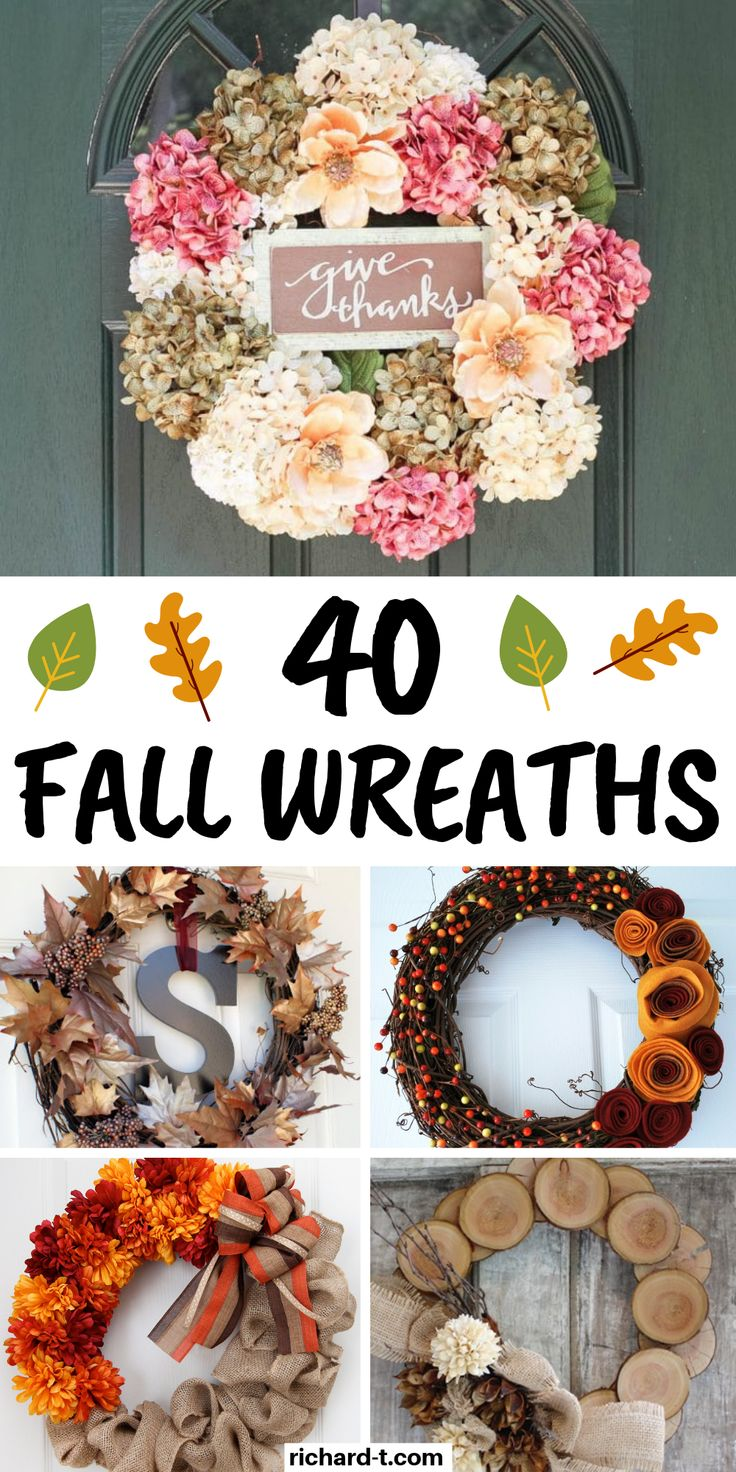 40 Cheap & easy DIY Fall wreaths to bring the Fall spirit into your home! These ...