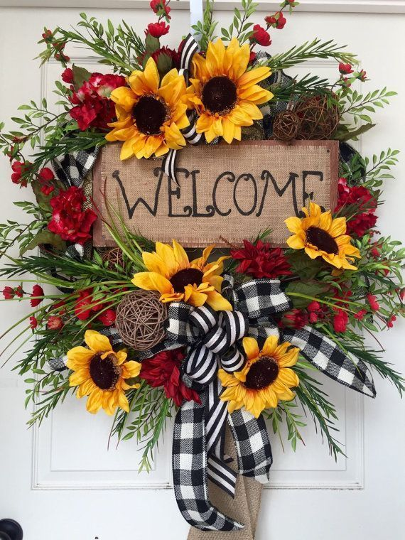 Summer or Fall Sunflower Burlap Mesh Wreath by WilliamsFloral - Crafting For Hol...