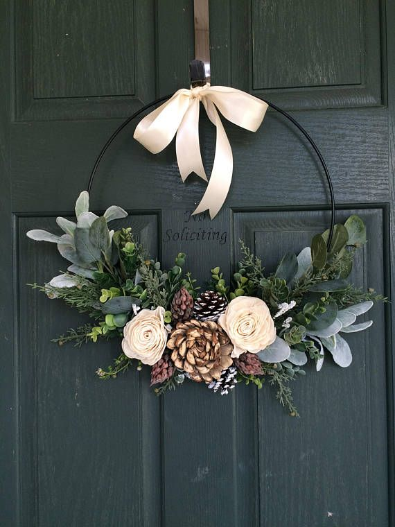Christmas wreath, wreath for christmas, christmas decor, hoop wreath, modern wre...