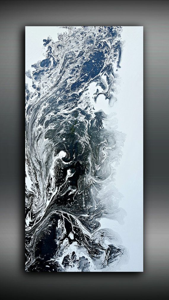 Black and White 24x48 Abstract Painting Acrylic Painting Abstract Painting Art ...