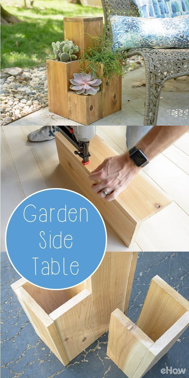 These two-tone side tables for the garden are adorable! Perfect for the h ...