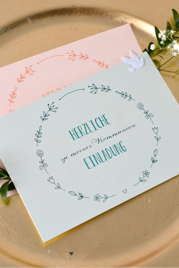 "Zart & floral: Our pretty communion invitation ""Herzblume"" is available in many ..."
