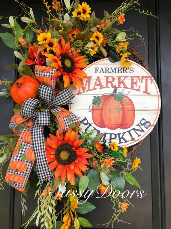 Fall Wreath, Sunflower Wreath, Pumpkin Wreath, Fall Front Door Wreath, Fall Grap...