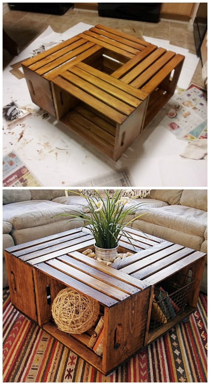Beautiful Cheap DIY Coffee Table Ideas. Side-table hairpin legs and an old wood ...
