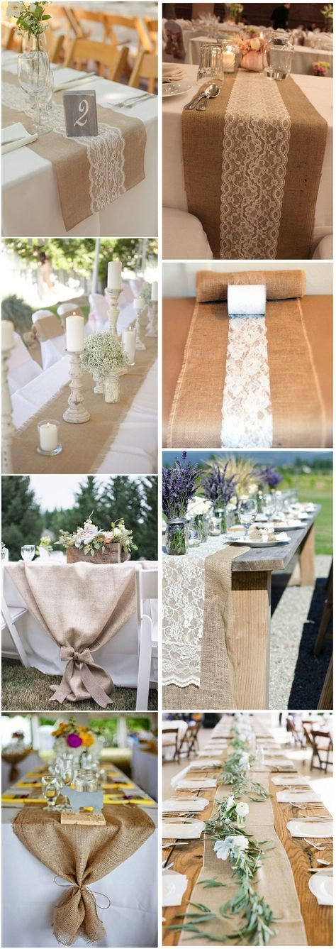22 rustic burlap wedding table runner ideas that you will love | Hoc ...