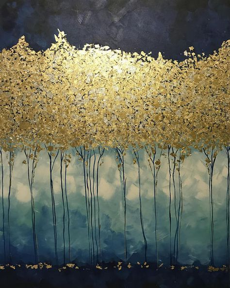 Large Abstract Oil Painting Art Gold Painting Wall Decor