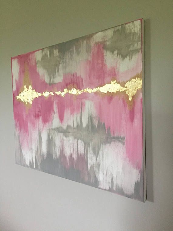 Large Abstract painting Pink Grey White with Gold Leaf