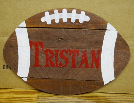 "Reclaimed Pallet Football (12"") Wall hanger customized with your choice of Initi..."