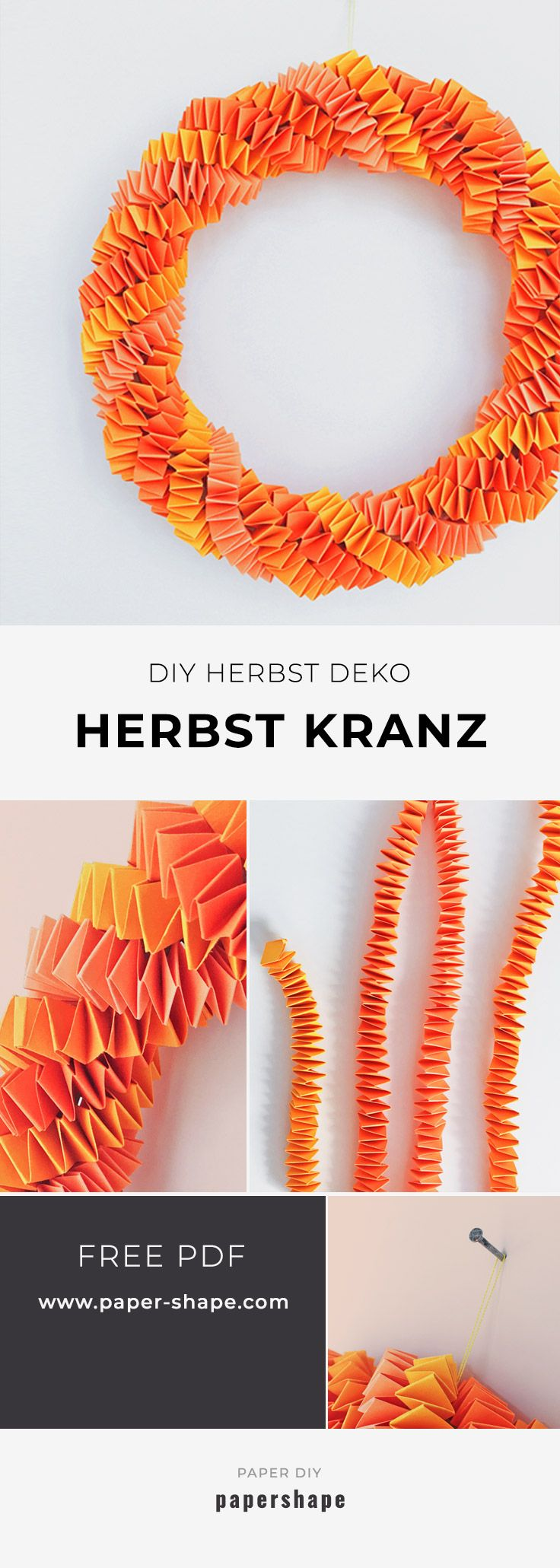 DIY paper autumn wreath made from zigzag stripes as a door wreath or as a table ...