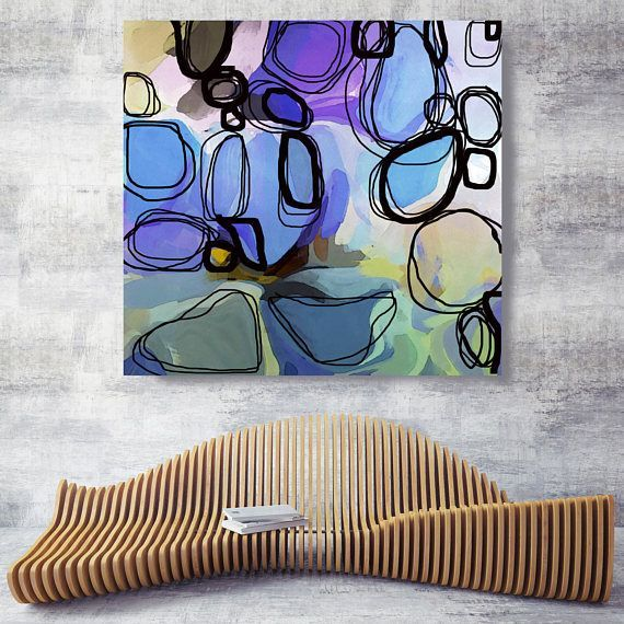 Blush lavender. Purple Green Abstract Art Wall Decoration Large Abstract B ...
