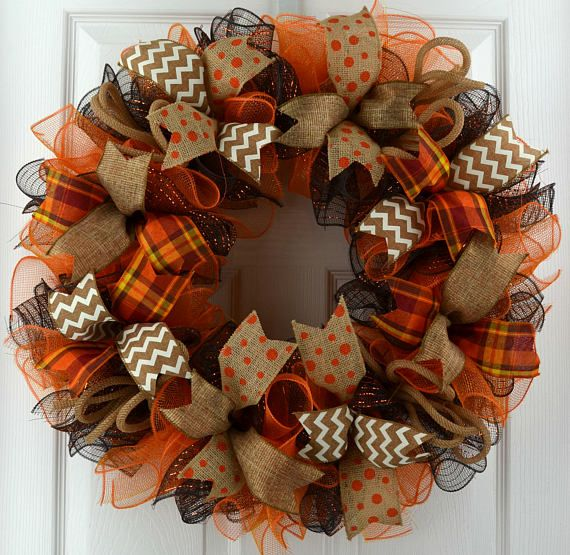 Fall door wreath  Fall mesh wreath  Fall wreath  Wreath for