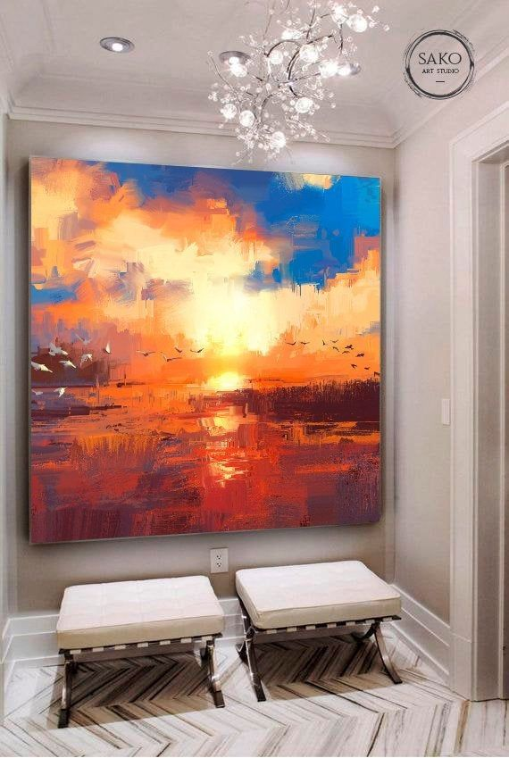 Sunset painting / Extra Large Wall Art / Abstract Painting / | Etsy