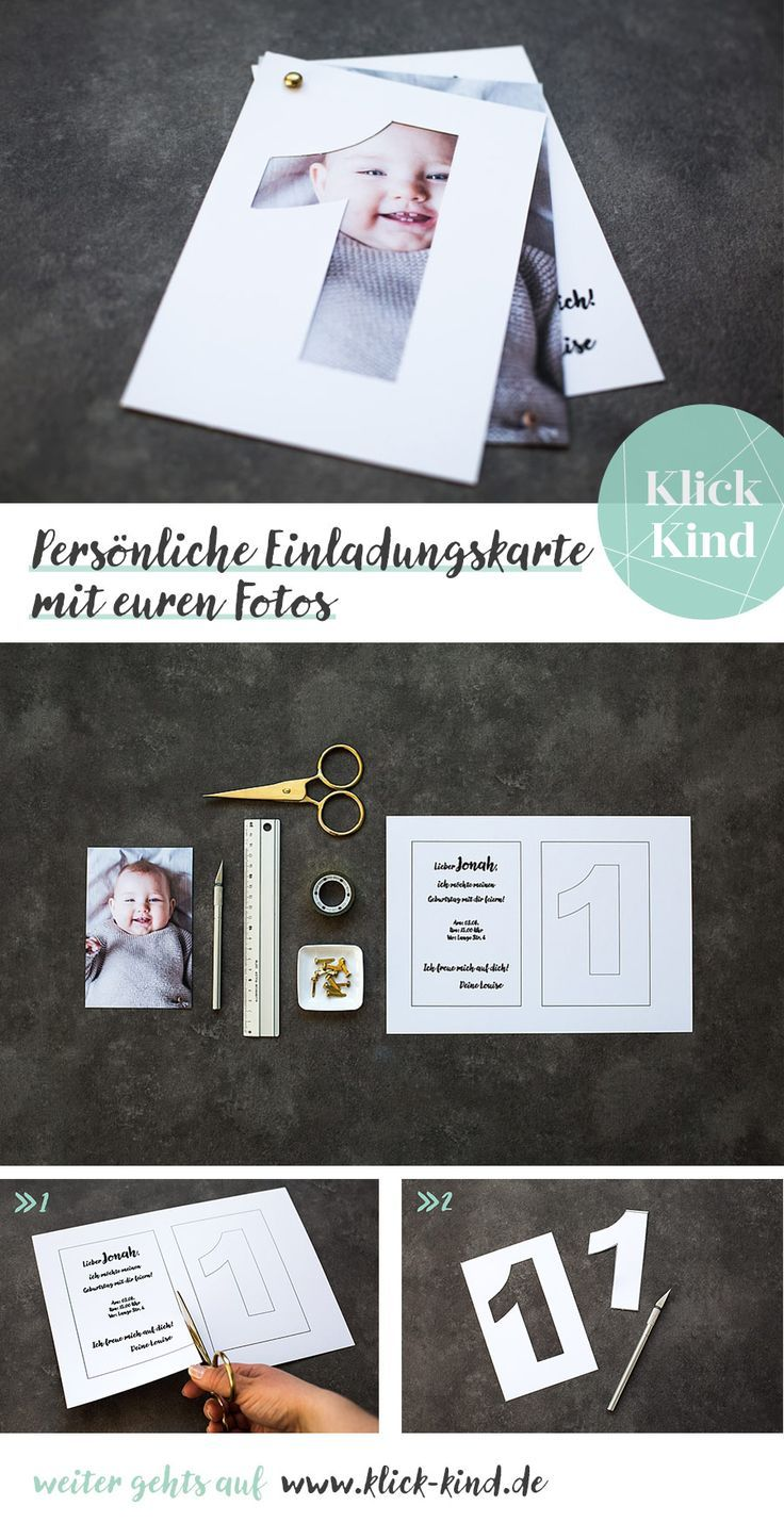 Tinker invitation card for children's birthday with your own photo of the child