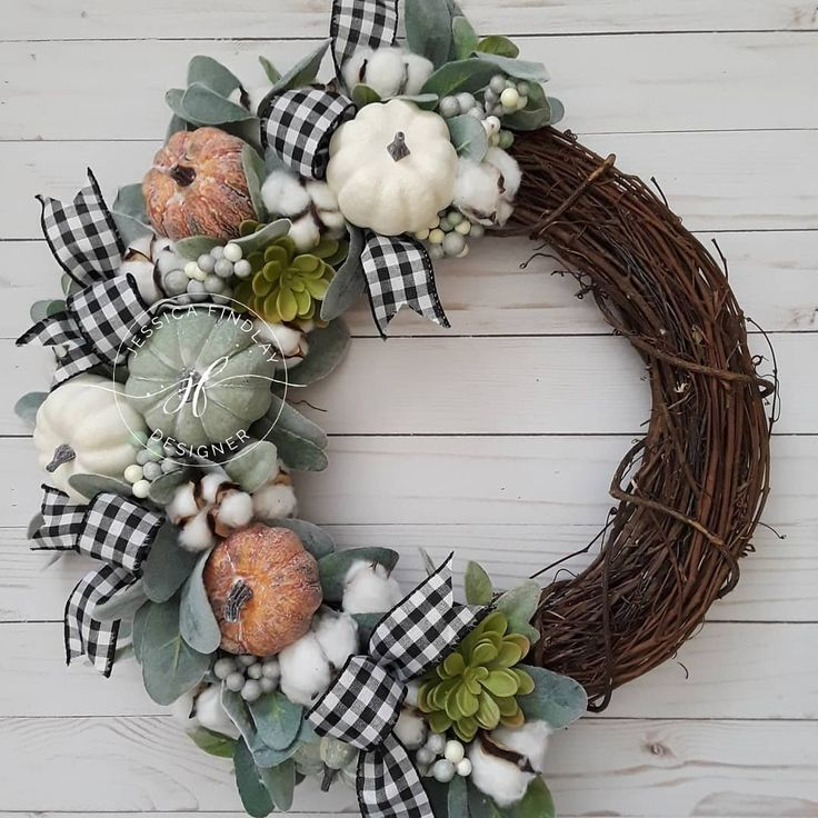 DIY Fall rustic farmhouse door wreath with buffalo plaid, lambs ear, cotton and ...