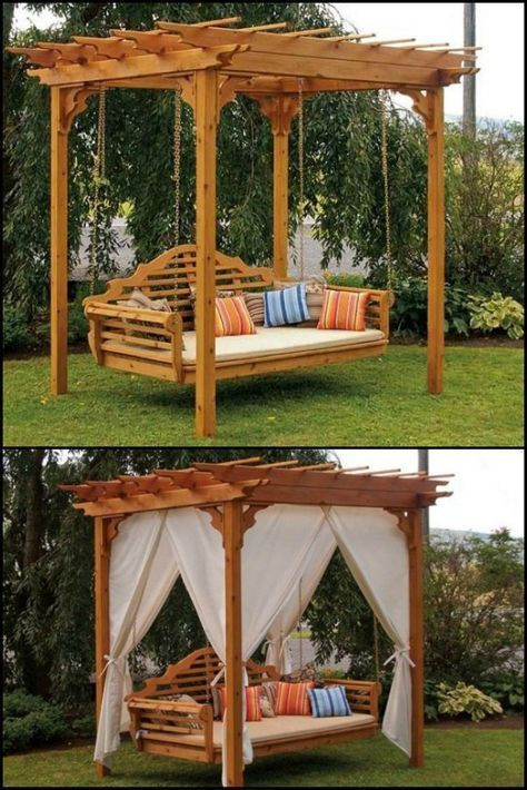 Legend Outdoor Cedar Swing Bed & Pergola #amp # Outdoor #Bed #cedar #deko #decor ...