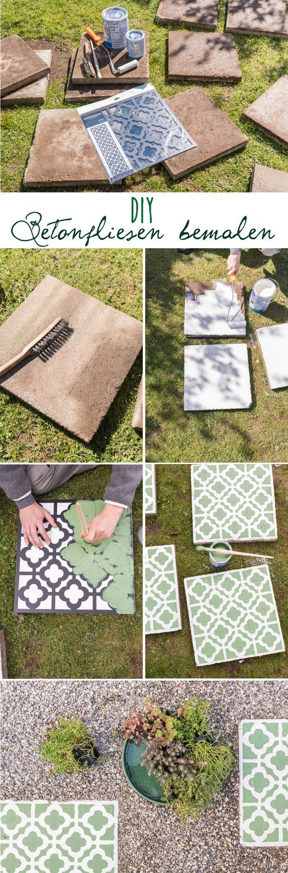 DIY instructions for homemade upcycling concrete tiles in Moroccan look ...