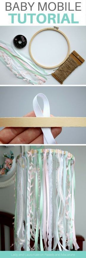 Make an embroidery hoop and lace DIY baby mobile tutorial without any craft skil...