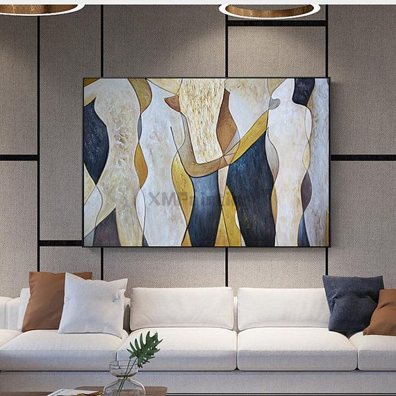 Abstract painting on canvas wall art pictures for living room dining room home d...