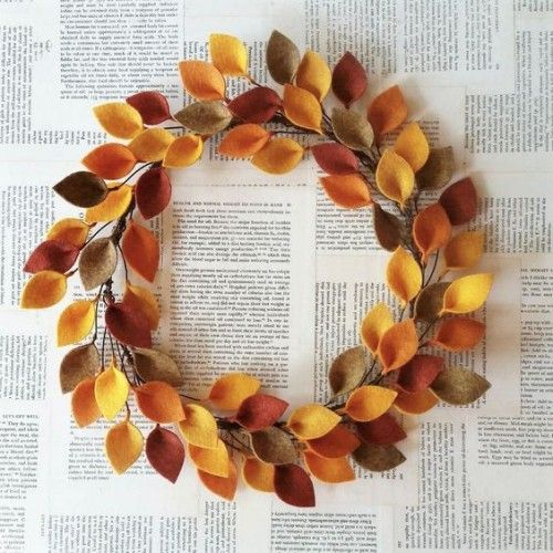 DIY deco idea and craft idea for the autumn time Homemade deco wreath made of ...