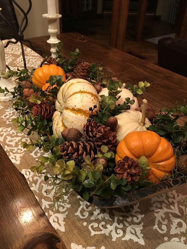 unbelievable autumn centerpiece - harvest wooden bowl #deko #dekoration #Decorati ...