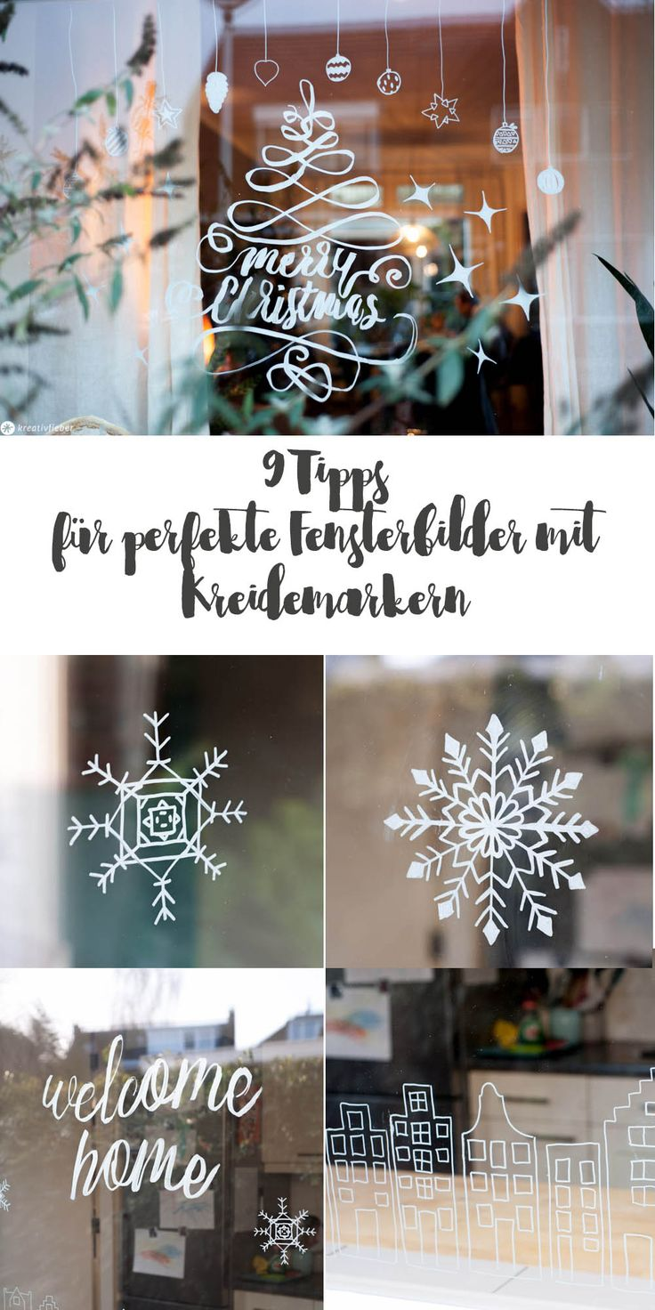 Window painting with chalk markers DIY - DIY window decoration with chalk markers - 9 Tip ...