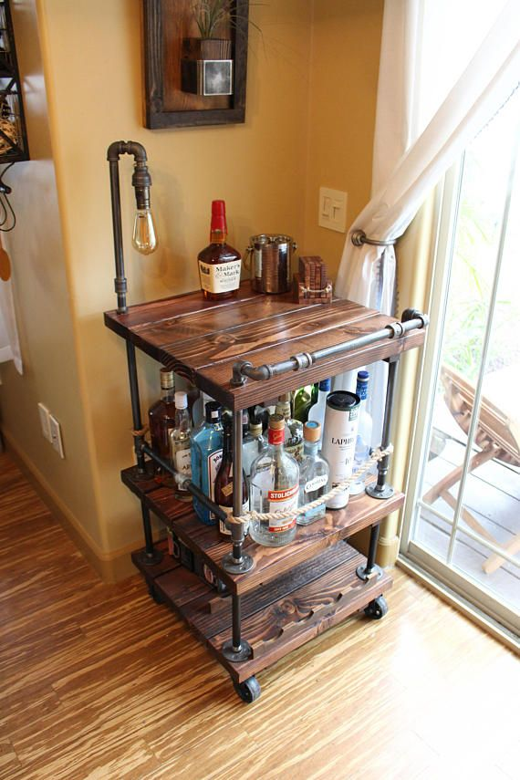 Rustic Bar Cart & Light / lamp Industrial Pipe Wood Bar /