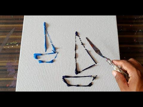 Simple & Easy Abstract Painting for Beginners / Sail Boats / Demostration/Daily ...