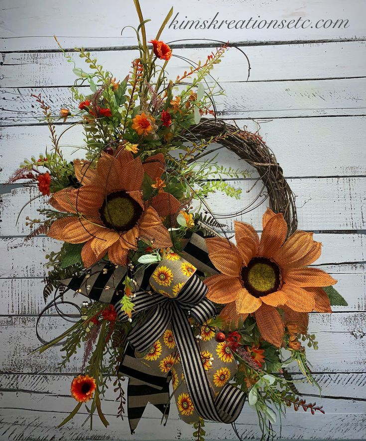 Fall Wreath, Fall Door Wreath, Unique Fall Door Wreath, Fall Sunflower ...