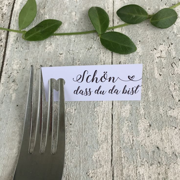 Place Cards -Bell you're there - heart punch fork