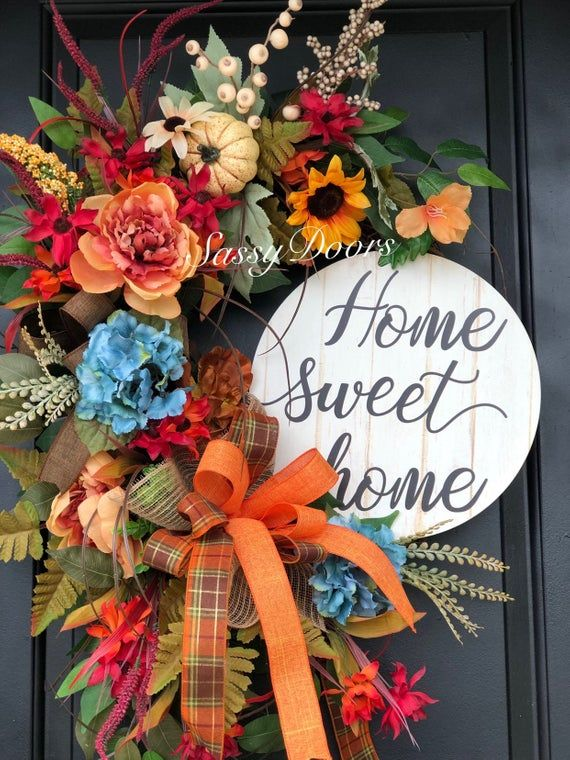 Fall Wreath-Pumpkin Wreath, Hydrangea Wreath, Front Door Wreath, Fall Pumpkin Wr...