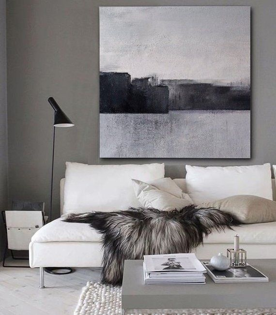 Black and White Abstract Painting Minimalist Art,Large Original Landscape Art,Or...