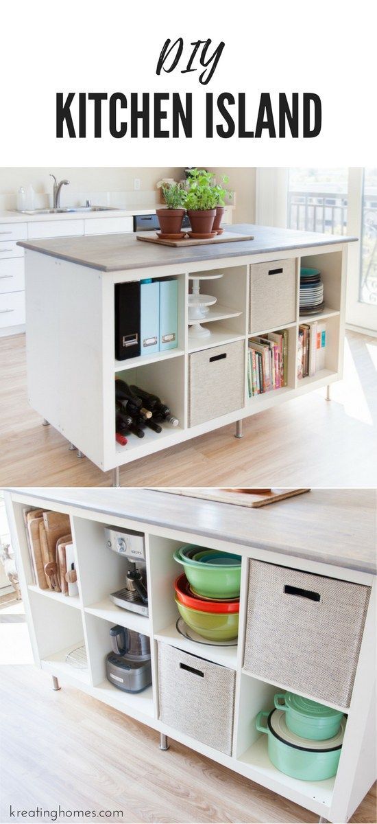 Check out this DIY Kitchen Island we created using old ikea bookshelves! The amo...