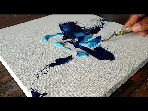 Acrylic Abstract Painting / BLUE / Demonstration / Project 365 days / Day #244 -...