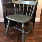 Before and after furniture flip idea for a DIY deep green accent chair makeover....